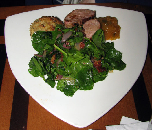The Wave...of American Flavors: Apple-brined pork tenderloin with spinach salad