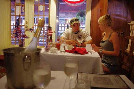 Okawville, IL: Jon and Breanna, guests, enjoying dinner.