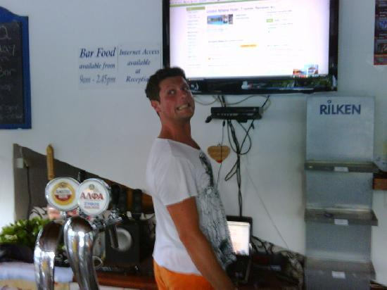 Lindos Athena Hotel: Alex is proud of his bar and TV