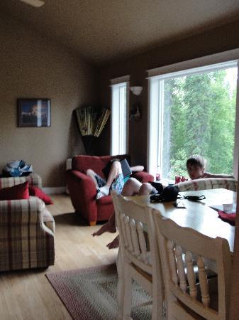 Talkeetna Treetop Chalet: Living room - free WI FI