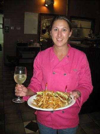 Dickson, TN: One of the chefs enjoying dinner after a busy Friday night