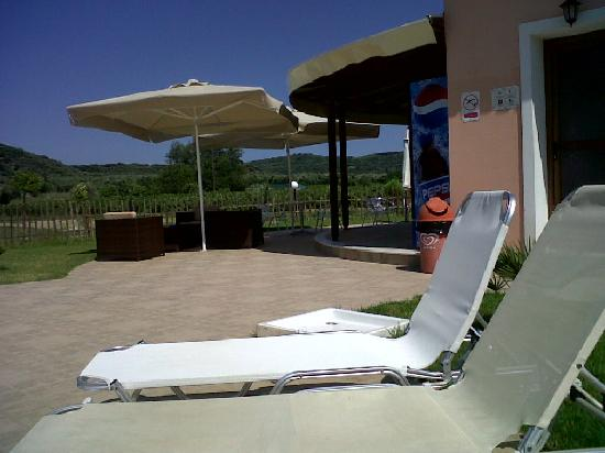 Eleni's Gardens: view of the pool bar seating from the sunbed