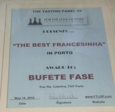 """Restaurante Bufete Fase : The """"diploma"""" of the best francesinha in Porto"""