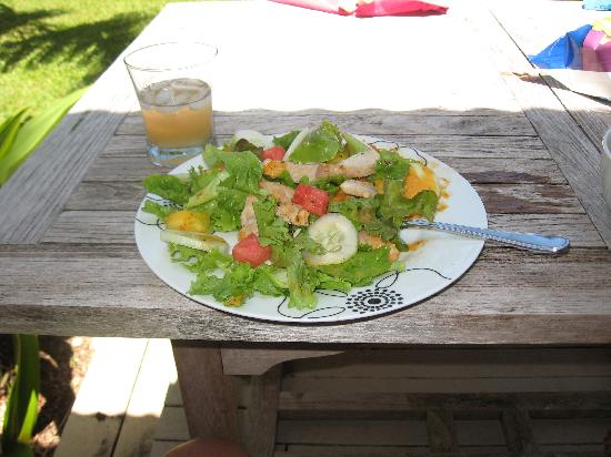 "Hale Makai Cottages: salad made with produce from the ""honor system"" stand across the street"