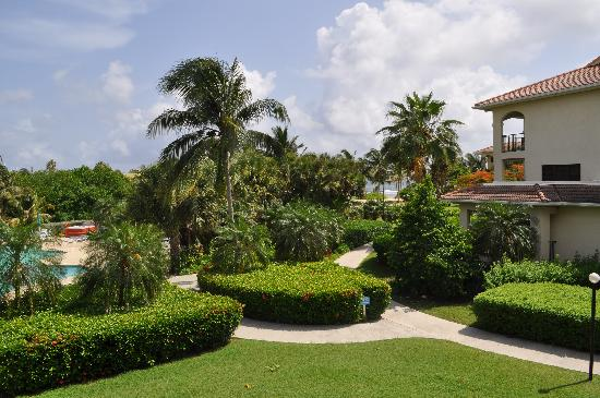 Pelican Cove Condos: view of pool and sea from balcony