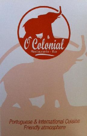 O Colonial Restaurante: Front of card received at end of meal