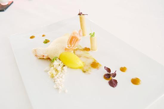 Restaurant Spice im Rigiblick: Mandarin sorbet with langoustine, mole, cous-cous. Very creative fusion cuisine, interesting int