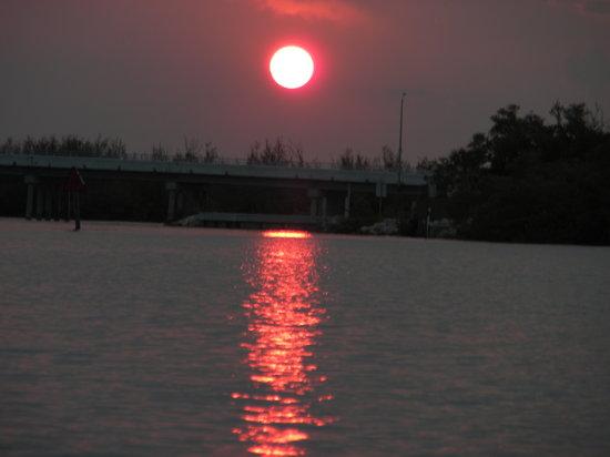 Motorized Kayak Adventures: Sunset  view from a motorized  kayak