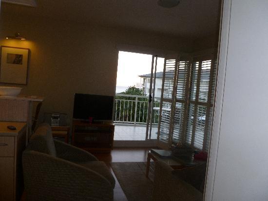 Living room looking out ocean