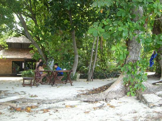 Alam Kotok Island Resort: Our private beach, table/chairs and camp fire.