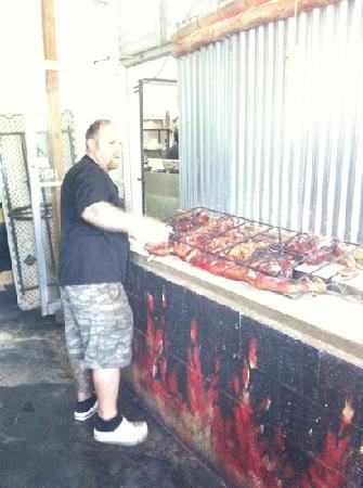 La Estacion: whole roasted pig and the chef Kevin Roth