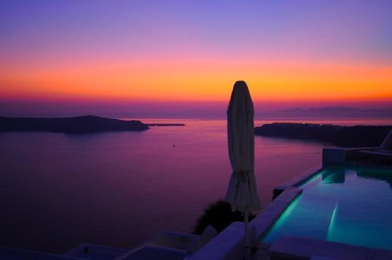 Astra Suites: Sunset from the Astra's pool