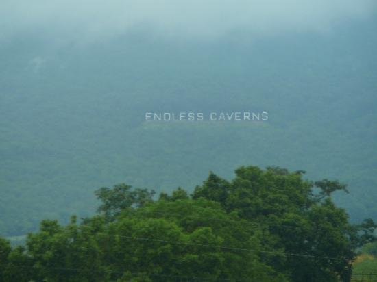 Endless Caverns sign seen from Interstate