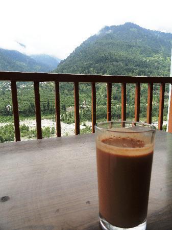 Hotel Bhrigu: Enjoying morning cuppa on the balcony...