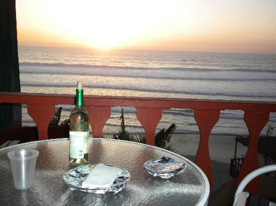 La Fonda Hotel & Restaurant: Enjoying some tacos and wine from our balcony taken 2/10
