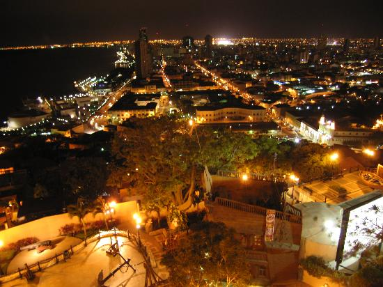 Guayaquil at night from Cerro del Carmen