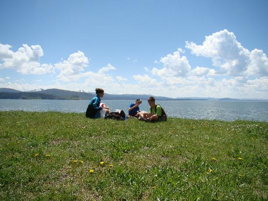 Picnic on Yellowstone Lake just off Storm Point Trail