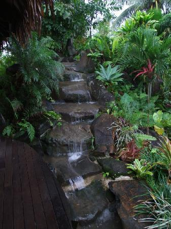 Te Vara Nui Village: Waterfall in the tropical gardens