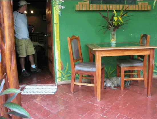 La Chosa del Manglar: Porch outside our room (note guard dog under table)