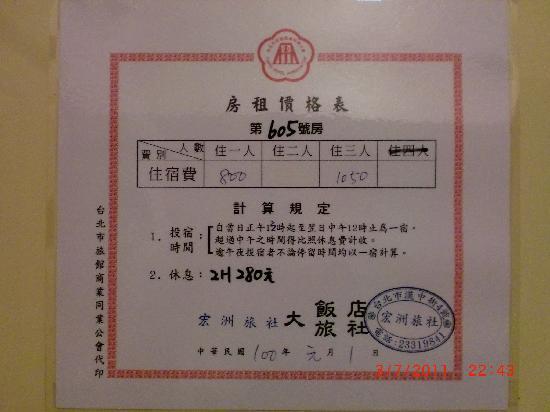 Hongzhou Hotel: 在廁所門貼上,價錢,明碼實價