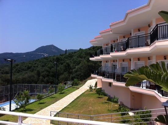 Alea Resort : One of the hotel buildings that overlooks the tennis court and valley.
