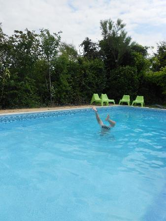 Ransley Barn Cottages: playing in the swimming pool
