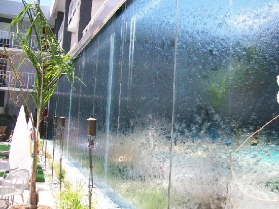 the clarendon hotel and spa waterfall wall