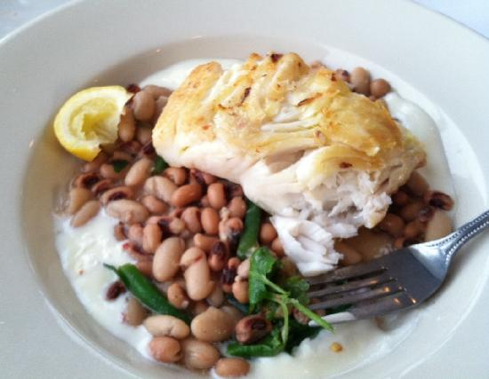 Catch 54: hot dry fish, cold watery beans, lemon something (yogurt?) and a stepped on lemon,