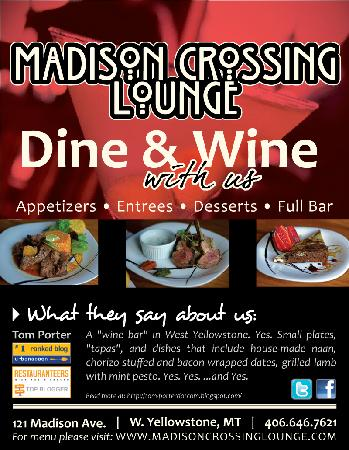 Madison Crossing Lounge : Only three blocks from Yerllowstone Park