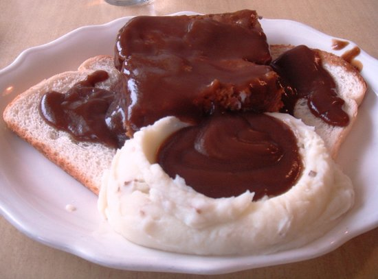 Star Family Restaurant: Open face meatloaf sandwich with mashed potatoes and beef gravy