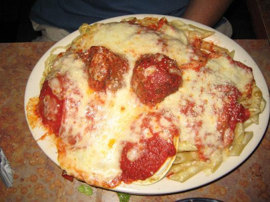 Mama's Pizza: large combo pasta with meatball