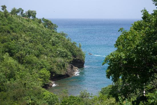 Villa Pomme d'Amour : vue de la terasse sur la petite plage en contrebas
