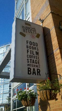 Busboys and Poets: Sign by entrance