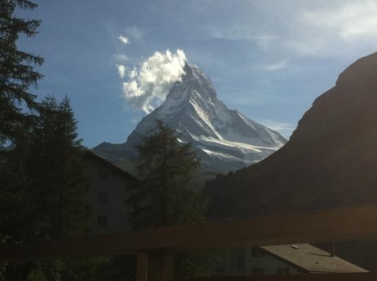 CERVO Zermatt: view from balcony, corner room