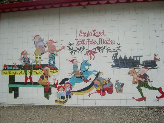 North Pole, AK: One of the tiled walls on the shop
