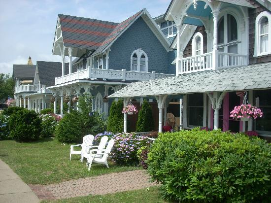 Oak Bluffs, MA: Rows of cottages and verandas at the campgrounds