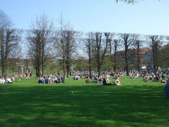 Copenhague, Dinamarca: nel parco a Copenhagen in una giornata di sole