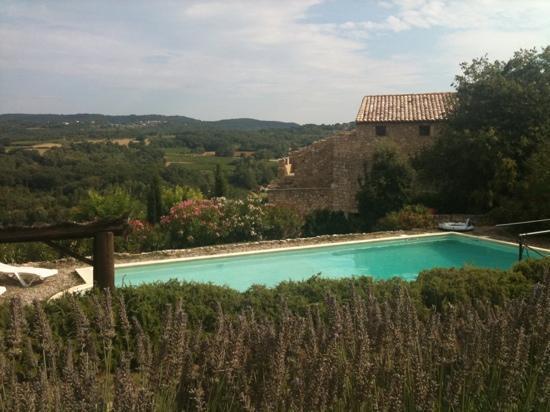 Domaine du Clos d'Hullias : vue de la piscine des lauriers