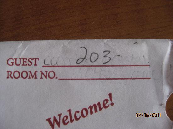Quality Inn and Suites: reusing the room key slip