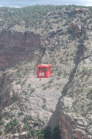 Royal Gorge Bridge and Park: Tram running along side the bridge
