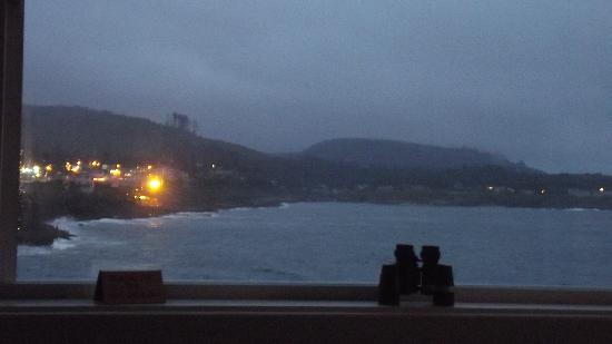The bright lights of Depoe Bay from the sofa of Room 6
