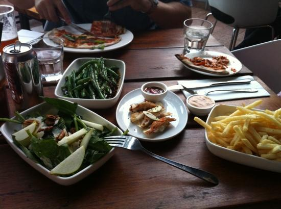 The Aarli: salad, pizza, beans and chips