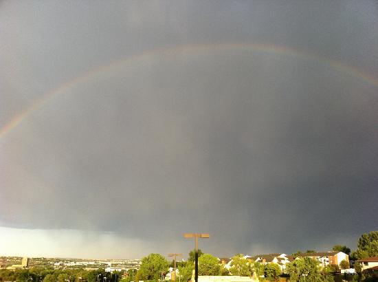 Rainbow from balcony of Marriott Courtyard Colorado Springs South