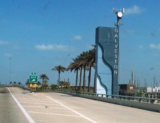 Signs outside Galveston Island