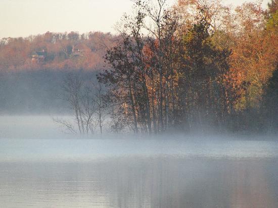 Beaver Lakefront Cabins: Morning fog on the lake property