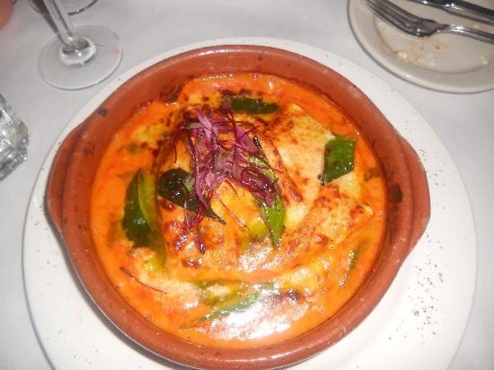 Terramia : Raviolone Aperto - Terracotta baked open face raviolo, sea scallops & shrimp, zucchini segments,