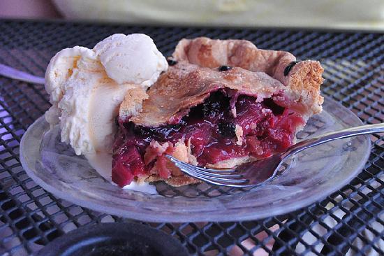 Bobkat's Purple Pie Place : Our Bumbleberry Pie was even purple, although other flavors are different colors.