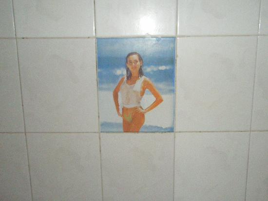 Golf 2 Hotel Dalat: Unusual wall tile in bathroom