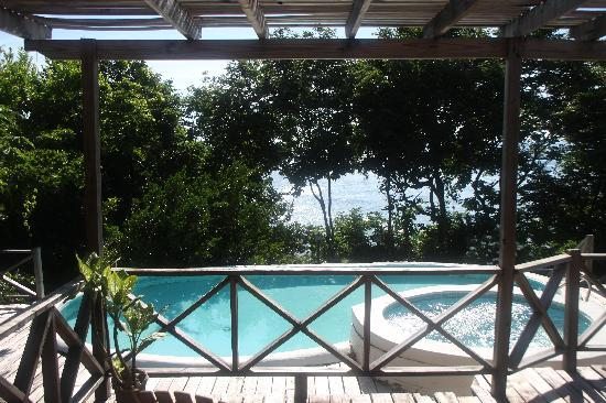 Culloden Bay, Tobago: view from the hanging bed in the porch of our villa