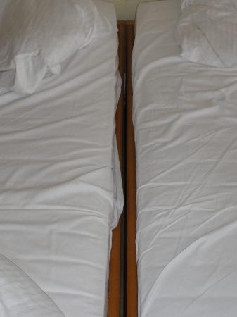 Aparthotel Königslinie: Unter einem Doppelbett stellt man sich was anderes vor...Matratzen waren durchgelegen, Rückensch